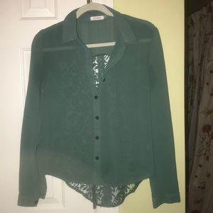 Green button down with cut out detailing on back